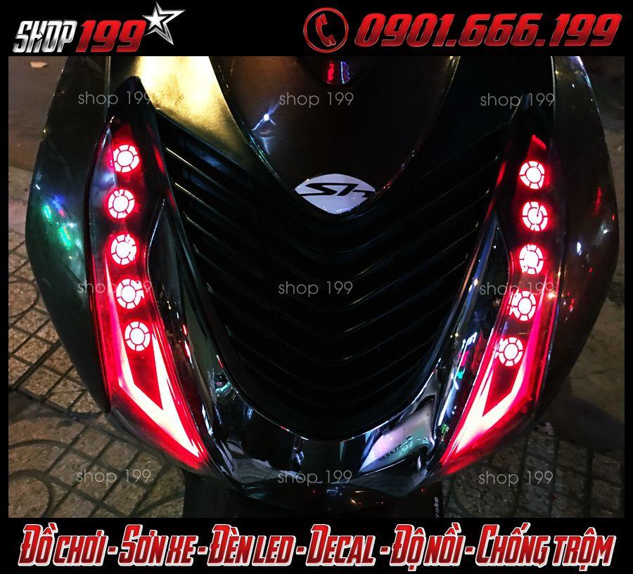 Hình ảnh: Đèn xi nhan led audi và đèn O'Block màu đỏ độ đẹp cho xe SH Việt, SH Ý 150i 125i 2012 2013 2014 2015 2016 tại Q5 HCM